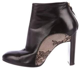 Nina Ricci Lace & Leather Ankle Boots