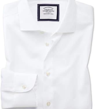 Charles Tyrwhitt Slim fit semi-cutaway business casual non-iron modern textures white shirt