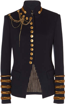 Oscar de la Renta Embellished Virgin Wool Military Jacket
