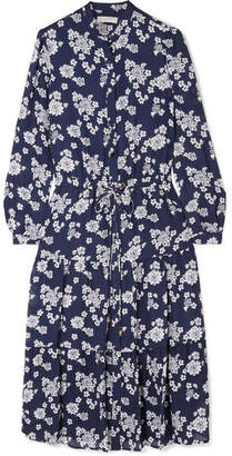 MICHAEL Michael Kors Ruffled Floral-print Silk-chiffon Midi Dress - Navy
