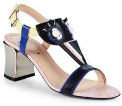 Fendi Leather & Metal Block Heel Sandals