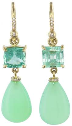 Irene Neuwirth Emerald Square and Chrysoprase Teardrop Earrings