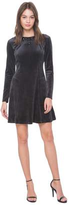 Juicy Couture Jewel Detail Velour Fit & Flare Dress