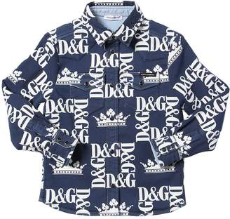 Dolce & Gabbana Logo Print Cotton Blend Shirt