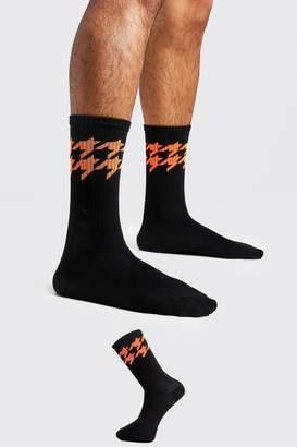 boohoo Neon Houndstooth Stripe Tube Socks