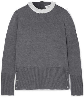 Thom Browne Pearl-embellished Merino Wool Sweater - Gray