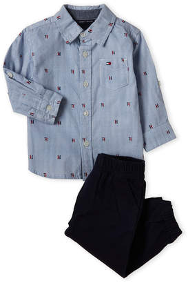 1230323fbb6b6 Tommy Hilfiger Infant Boys) Two-Piece Stripe Shirt & Twill Joggers Set