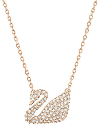 Swarovski Rose Gold Plated Crystal Swan Pendant Necklace