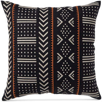 "Hotel Collection Closeout! Global Stripe Embroidered 18"" Square Decorative Pillow, Created for Macy's Bedding"