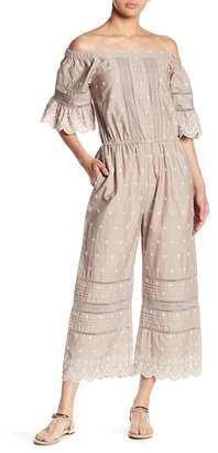 Love Sam Lily Scalloped Lace Off-the-Shoulder Jumpsuit