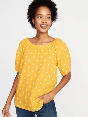 Old Navy Printed High-Neck Lantern-Sleeve Blouse for Women