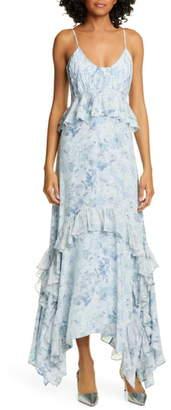 AMUR Promise Floral Print Silk Maxi Dress