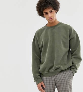 Reclaimed Vintage Inspired Oversized Sweatshirt In Khaki Overdye