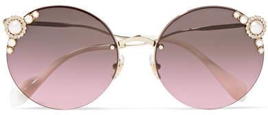 f830ea0854a8 Miu Miu Round-frame Embellished Gold-tone Sunglasses - ShopStyle