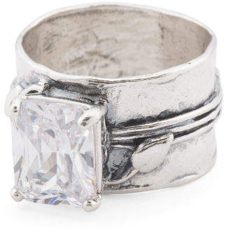 Made In Israel Sterling Silver Wide White Zircon Ring
