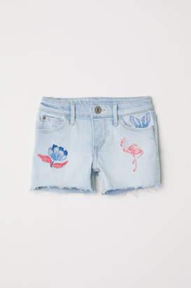 H&M Embroidered Denim Shorts - Blue