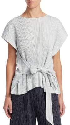 Pleats Please Issey Miyake Short Sleeve Tie-Waist Top