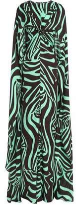 Emilio Pucci Cape-Back Printed Silk-Jersey Gown