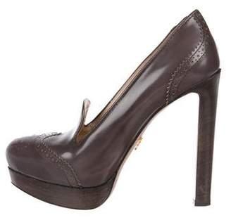 Prada Leather Loafer Pumps