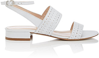 Barneys New York Women's Perforated Leather Double-Band Sandals $235 thestylecure.com
