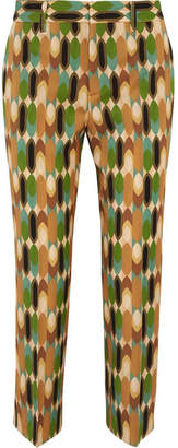 Cropped Printed Wool-blend Twill Straight-leg Pants - Brown