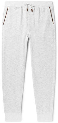 Ermenegildo Zegna Tapered Embroidered Mélange Loopback Cotton-Jersey Sweatpants