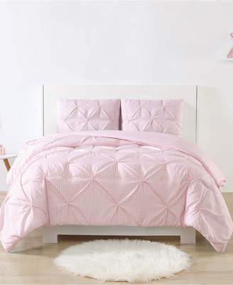 Laura Hart Kids Printed Gingham Pinch Pleat 3-Pc. Full/Queen Comforter Set Bedding