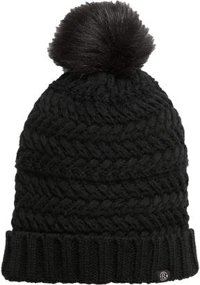 Treasure & Bond Cable Knit Beanie with Faux Fur Pom