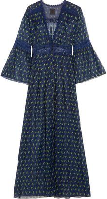 Anna Sui - Lace-trimmed Floral-print Silk-blend Crepon Kimono Jacket - Blue
