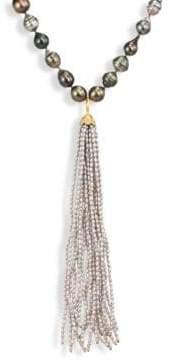 Jordan Alexander 2MM Silver Seed Pearl, Diamond& 18K Yellow Gold Tassel