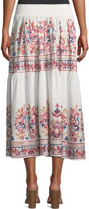 Joan Vass Embroidered Midi Peasant Skirt