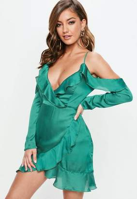 Missguided Green Dobby Satin Cold Shoulder Shift Dress
