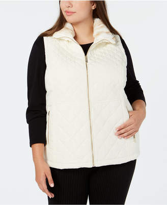 Calvin Klein Plus Size Quilted Vest With Faux-Fur Collar