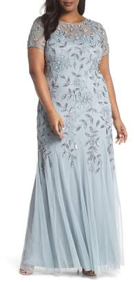 Adrianna Papell Floral Beaded Godet Gown