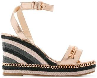 Lanvin woven chain trim wedges