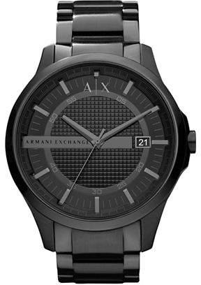 Armani Exchange Mens Round 3 Hand Black IP Stainless Steel Black Dial Watch