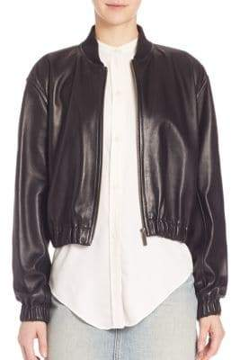 Helmut Lang Cropped Leather Bomber Jacket