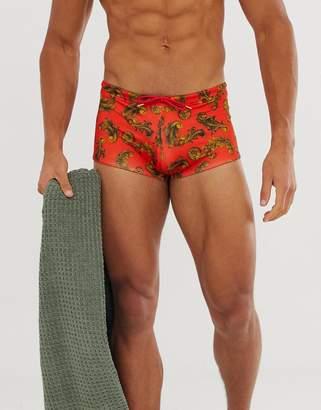 Asos DESIGN Swim Trunks With Red Baroque Print