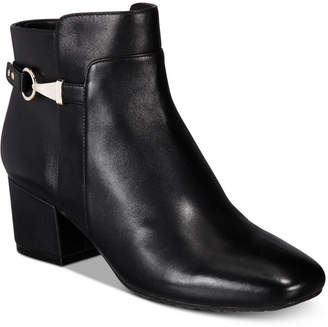 Bandolino Faruka Block Heel Zip Booties Women's Shoes