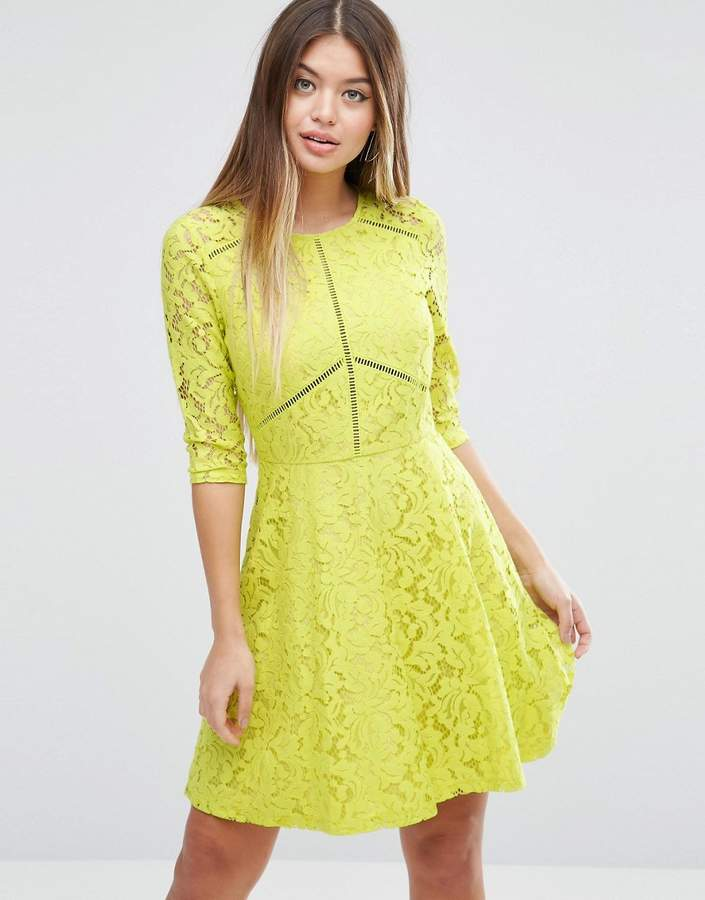 Asos ASOS Skater Dress in Lace with Ladder Trim