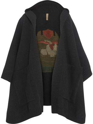 Burberry Crest Jacquard Wool Blend Hooded Cape