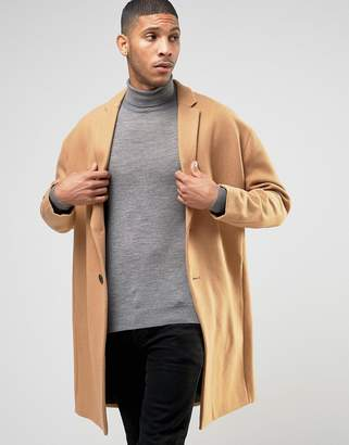 ASOS Wool Mix Overcoat with Drop Shoulder In Camel $136 thestylecure.com