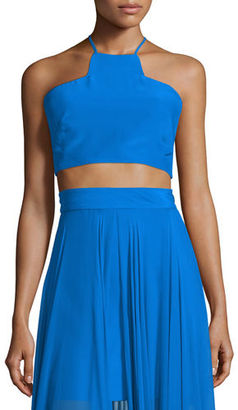Milly Sleeveless Silk Halter Crop Top $195 thestylecure.com
