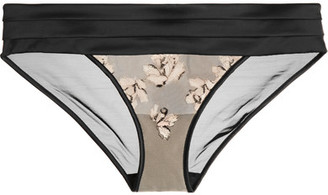 Calvin Klein Underwear - Ck Black Tempt Embroidered Stretch-tulle And Satin Briefs $50 thestylecure.com