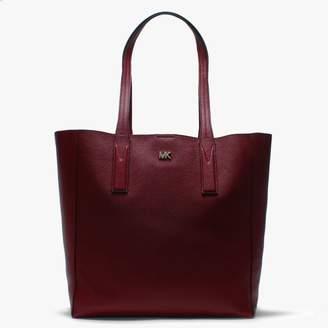 Michael Kors Large Junie Maroon Pebbled Leather Tote Bag