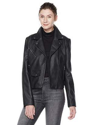 Moto The Casual Grey Women's Faux Leather Biker Jacket