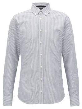 BOSS Hugo Slim-fit striped washed cotton Oxford shirt M Dark Blue