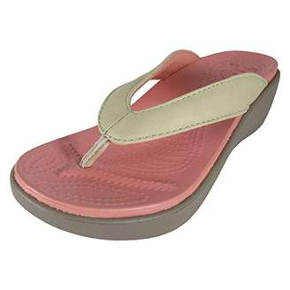 Crocs Women's Capri Leather Wedge Flip Flop
