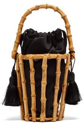 Glorinha Paranagua Lineia Satin And Bamboo Basket Bag - Womens - Black Multi