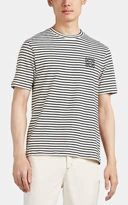 Loewe Men's Logo Striped Cotton-Linen T-Shirt - Navy